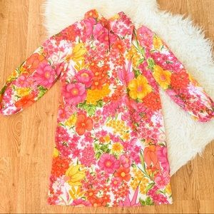 Vintage 70s Floral Shift Dress Bell Sleeves M